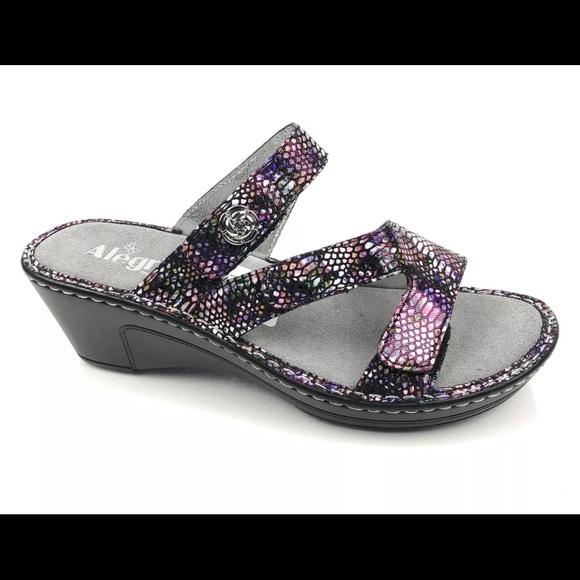 8705f0f8ba0 Alegria Wedge Sandals Slides Metallic Snake LOT